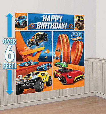 HOT WHEELS RACE CARS Scene Setter HAPPY BIRTHDAY party wall decoration kit 6'](Happy Birthday Cars)