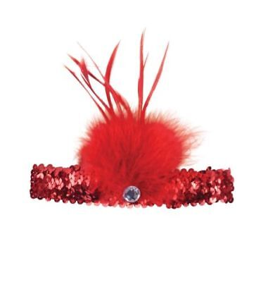 Feather Sequin Headband Flapper Great Gatsby 1920s Head Piece Red Headwear](Great Gatsby Headwear)