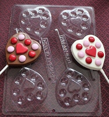 HEART DECORATE LOLLIPOP VALENTINE CHOCOLATE CANDY MOLD MOLDS PARTY FAVORS