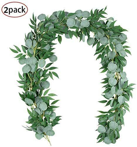2Pcs 6.5 Ft Artificial Silver Dollar Eucalyptus Leaves Garland with Willow Vines