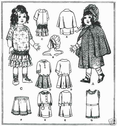 "18"" Antique  Doll Clothing Pattern  #8596"