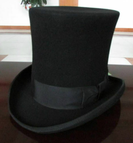 Vintage 100% Wool Victorian Mad Hatter Top Hat Vivi Magic Hat Performing Caps