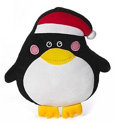 Black Penguin Santa Hat Chirstmas Stuffed Plush Throw Pillow by Ganz
