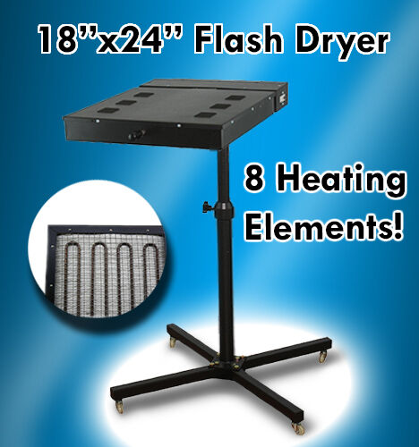 "18"" X 24"" Flash Dryer Silkscreen T-shirt Printing Curing Adjustable Height"