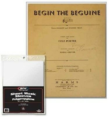 Sheet Music Display - (100) BCW Sheet Music Sleeves For Protection Display and Storage Archival Safe!