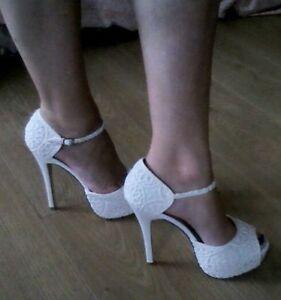 Cream Ivory Lace Peep Toe Strap Platform High Heels Shoes Sandals Wedding Prom 7