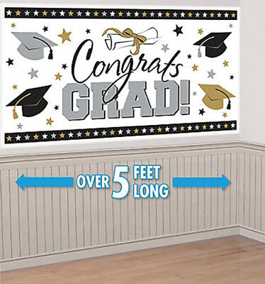 GRADUATION Scene Setter party wall banner CONGRATS GRAD poster backdrop caps gs](Congrats Banner)