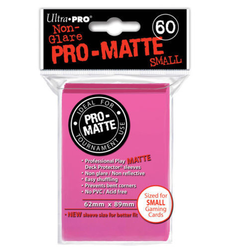 Ultra Pro Deck Protector Small Matte Sleeves BRIGHT PINK YuGiOh Cards 60 in Pack