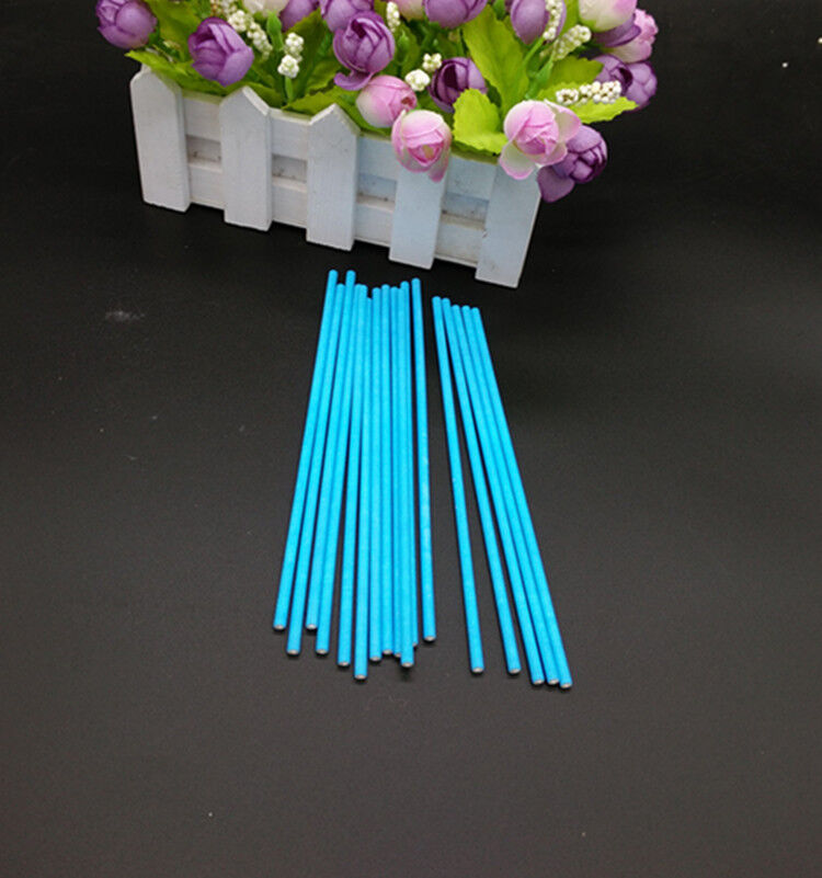 100 Colorful Cake Pop Lollipop Sticks Paper 15cm