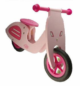 velo en bois sans p dale draisienne rose style scooter vespa jouet enfant fille ebay. Black Bedroom Furniture Sets. Home Design Ideas