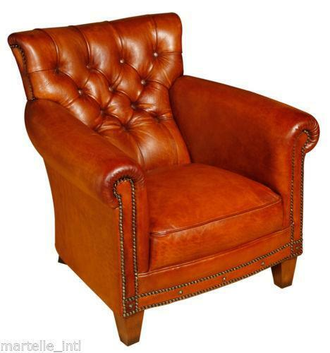 Red Leather Wingback Chair For Sale: Tufted Leather Chair