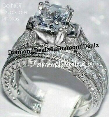 4CT Princess cut Diamond Engagement Ring Wedding Set 14k White Gold -