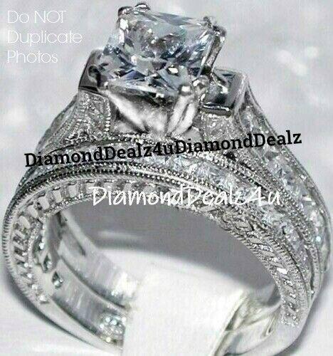 4CT Princess cut Diamond Engagement Ring Wedding Set 14k Whi