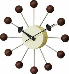 Nice Day Wall Clock George Nelson ball clock walnut 42110054 54149 fromJAPAN