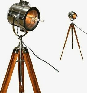 Chrome look vintage design searchlight spotlight telescopic tripod floor lamp ebay - Tripod spotlight lamp ...