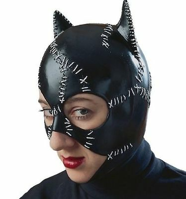 Black Mask Costume (LICENSED CATWOMAN BATMAN SUPERHERO BLACK CAT ADULT WOMEN COSTUME LATEX MASK)