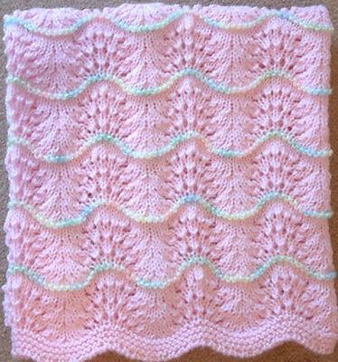 NEW Handmade PINK Knit Crochet BABY Afghan Blanket Wave Trim INFANT NEWBORN