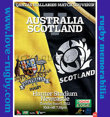 2012 - Australia v Scotland Rugby Programme - Hunters Stadium Newcastle a