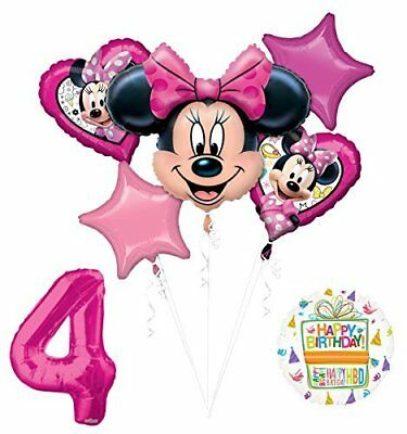NEW Minnie Mouse 4th Birthday Party Supplies Balloon Bouquet Decorations - Minnie Mouse Balloon Bouquet