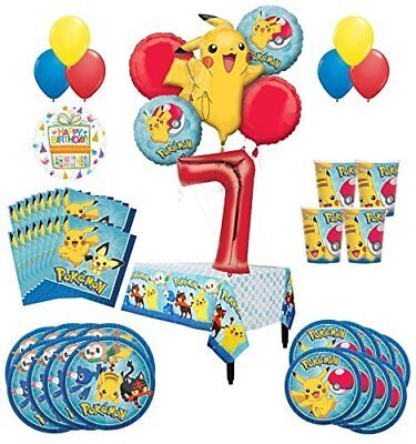 Pokemon 7th Birthday Party Supplies and 8 Guest 54pc Balloon Decoration Kit - Balloon Pokemon