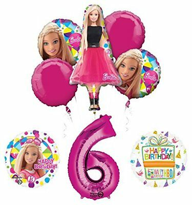 Barbie 6th Birthday Party Supplies and Balloon Bouquet - Barbie Balloons