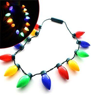 Flashing Christmas holiday Light Bulb Necklace 13 individual bulbs - 4 colors... (Flashing Christmas Bulb Necklace)