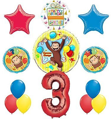 Curious George 3rd Birthday Party Supplies Balloon Bouquet Decorations - Curious George Birthday Party Decorations