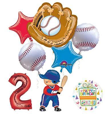 Baseball Player 2nd Birthday Party Supplies Balloon Bouquet Decorations](Baseball Birthday Supplies)