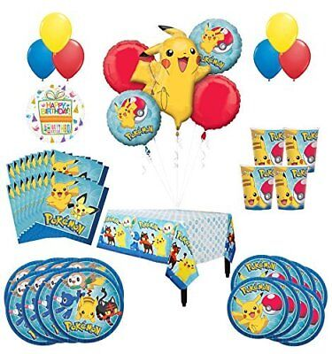 Pokemon Birthday Party Supplies and 8 Guest 53pc Balloon Decoration Kit - Balloon Pokemon