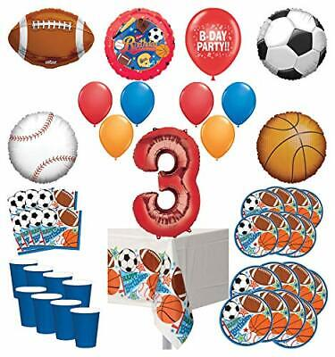 Mayflower Products Sports Theme 3rd Birthday Party Supplies 8 Guest Entertain... - Sports Theme Party Supplies