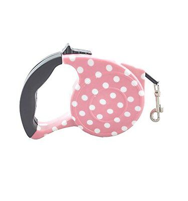 Retractable Dog / Cat Leash, 16.5 ft Long, Traction Pet Nylon Rope Walking Pink