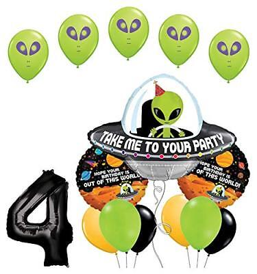 Space Alien 4th Birthday Party Supplies Balloon Bouquet Decorations