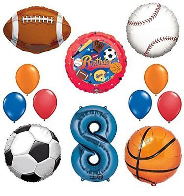 The Ultimate Sports Theme 8th Birthday Party Supplies and Balloon Decorating Kit - Sports Theme Party Supplies