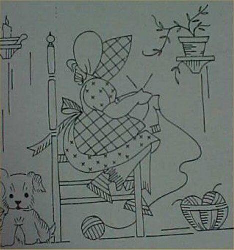 Vintage Sunbonnet Sue w Scottie Dog Transfer Pattern for Towels Days of the Week