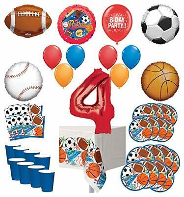 Mayflower Products Sports Theme 4th Birthday Party Supplies 8 Guest Entertain... - Sports Theme Party Supplies
