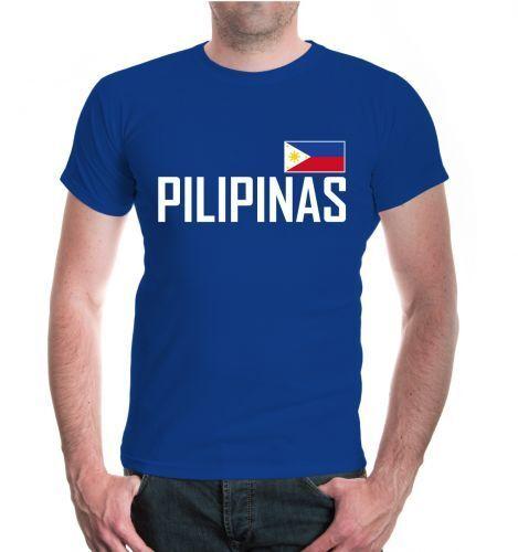 Herren Unisex Kurzarm T-Shirt Philippinen pilipinas Asien asia Reise Urlaub flag
