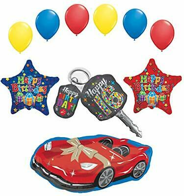 Sweet 16 Birthday Party Supplies Car Keys and Sports Car Balloon Bouquet Décor