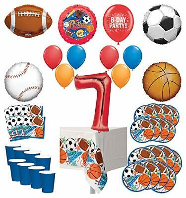 Mayflower Products Sports Theme 7th Birthday Party Supplies 8 Guest Entertain... - Sports Theme Party Supplies