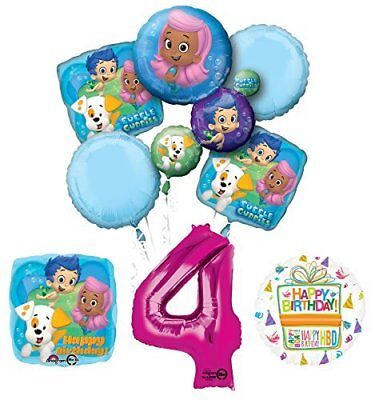 Bubble Guppies 4th Birthday Party Supplies and Balloon Bouquet Decorations](Bubble Guppie Balloons)