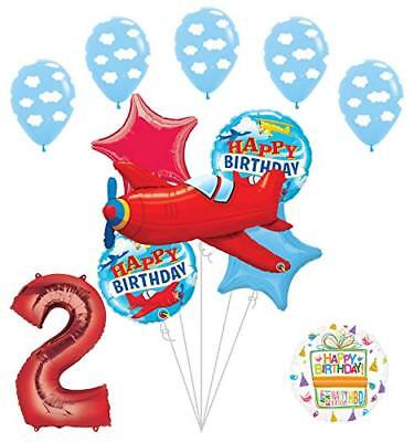 Airplane Birthday Party Supplies (Airplane 2nd Birthday Party Supplies Vintage Plane Balloon Bouquet)