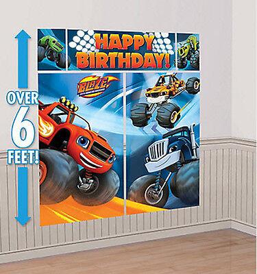 BLAZE & MONSTER TRUCKS Scene Setter HAPPY BIRTHDAY party wall decor kit 6' jam - Monster Truck Party Supplies
