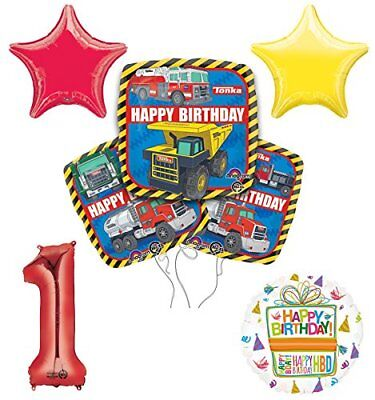 Tonka Truck 1st Birthday Party Supplies and Balloon Decoration Bouquet Kit - Tonka Truck Party Supplies