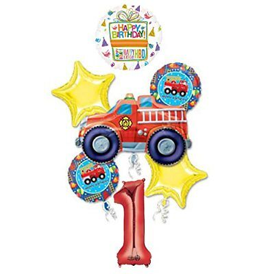 Fire Truck Fire Engine 1st Birthday Party Supplies and Balloon Decorations - Fire Truck Birthday Supplies