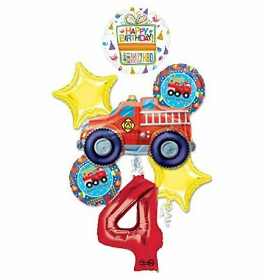 Fire Truck Fire Engine 4th Birthday Party Supplies and Balloon Decorations