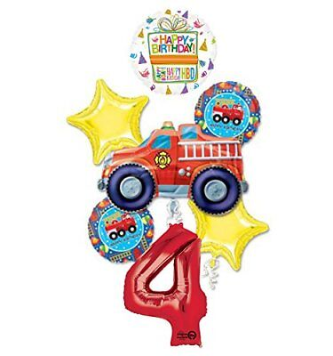Fire Truck Fire Engine 4th Birthday Party Supplies and Balloon Decorations - Fire Truck Birthday Supplies