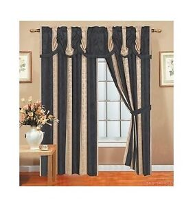 Lizet Luxurious Jacquard Rod Packet Panel With Attached Valance Black 54x84 18 Ebay