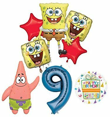Spongebob Squarepants 9th Birthday Party Supplies and Balloon Bouquet