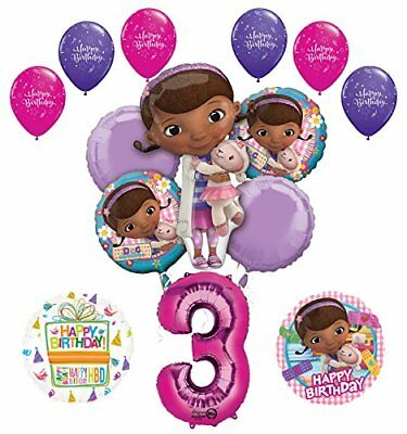 Doc McStuffins 3rd Birthday Party Supplies and Balloon Bouquet Decprations (Doc Mcstuffins Birthday Party)