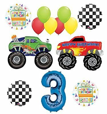 Monster Truck Party Supplies 3rd Birthday Balloon Bouquet Decorations - Party Truck