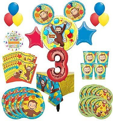 Supplies 8 Guest Kit 3rd Birthday Balloon Bouquet Decoratio (George Party Supplies)